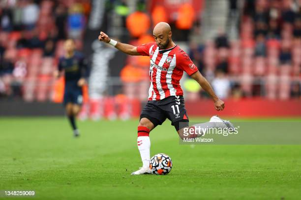 Nathan Redmond of Southampton during the Premier League match between Southampton and Burnley at St Mary's Stadium on October 23, 2021 in...