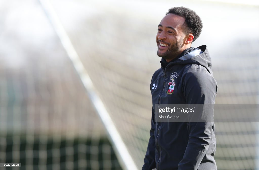 Nathan Redmond of Southampton FC during a training session at the Staplewood Campus on February 20, 2018 in Southampton, England.