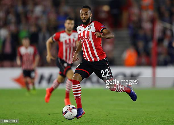 Nathan Redmond of Southampton FC in action during the UEFA Europa League match between Southampton FC v AC Sparta Praha at St Mary's Stadium on...