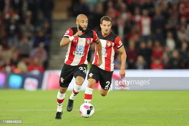 Nathan Redmond of Southampton in action during the Premier League match between Southampton and Bournemouth at St Mary's Stadium Southampton on...