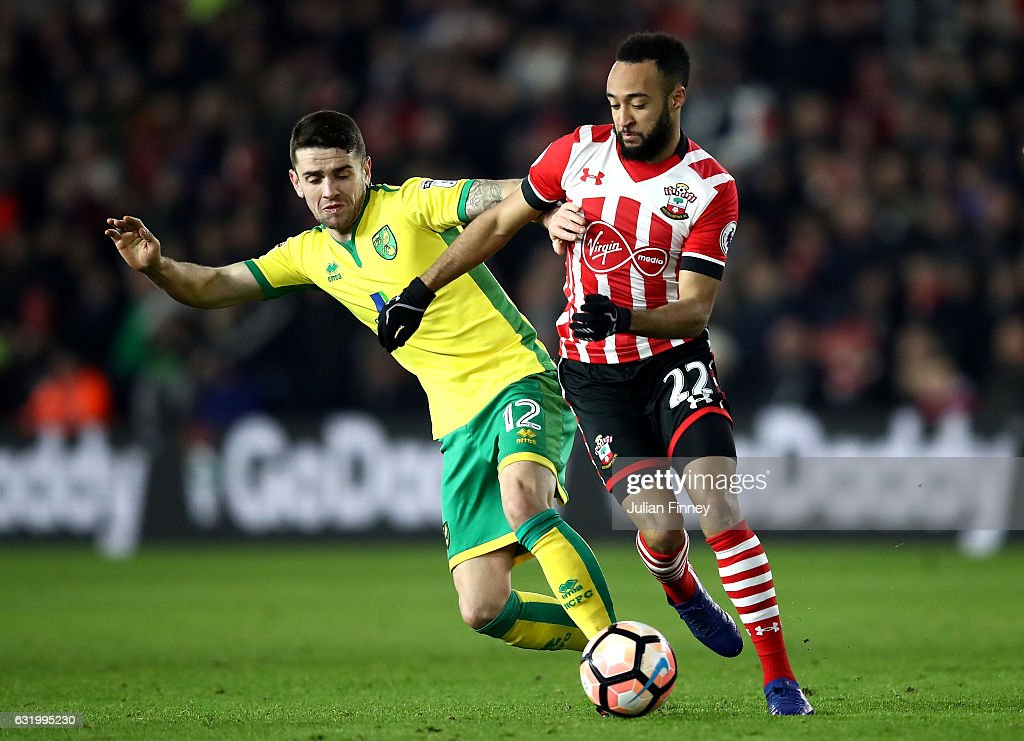 Nathan Redmond of Southampton is challenged by Robbie Brady of Norwich City during The Emirates FA Cup Third Round Replay match between Southampton and Norwich City at St Mary's Stadium on January 18, 2017 in Southampton, England.