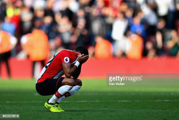 Nathan Redmond of Southampton is dejected after the Premier League match between Southampton and Manchester United at St Mary's Stadium on September...