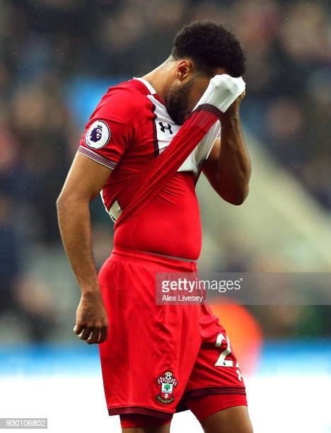 Nathan Redmond of Southampton look dejected after the Premier League match between Newcastle United and Southampton at St James Park on March 10 2018...