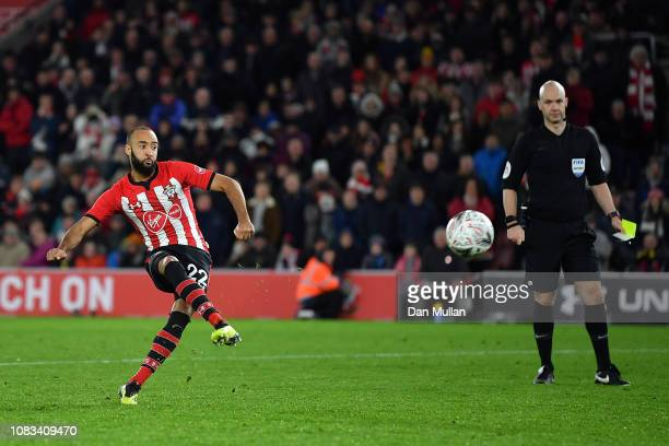 Nathan Redmond of Southampton misses the goal during a penalty shoot out in the FA Cup Third Round Replay match between Southampton FC and Derby...
