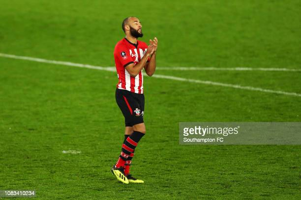 Nathan Redmond of Southampton reacts after he misses the third penalty during the penalty shoot out which lead to Southampton losing the FA Cup Third...