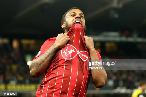 Nathan Redmond of Southampton reacts during the Premier League match between Watford FC and Southampton FC at Vicarage Road on April 23, 2019 in...