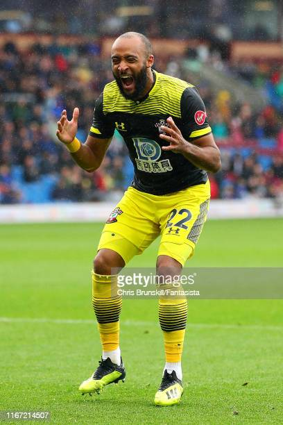 Nathan Redmond of Southampton reacts during the Premier League match between Burnley FC and Southampton FC at Turf Moor on August 10, 2019 in...