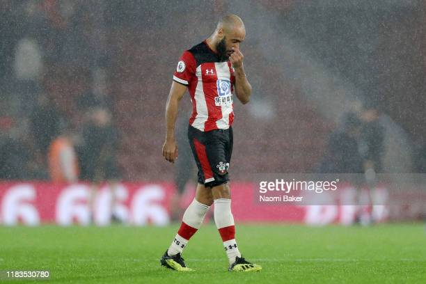 Nathan Redmond of Southampton reacts during the Premier League match between Southampton FC and Leicester City at St Mary's Stadium on October 25,...