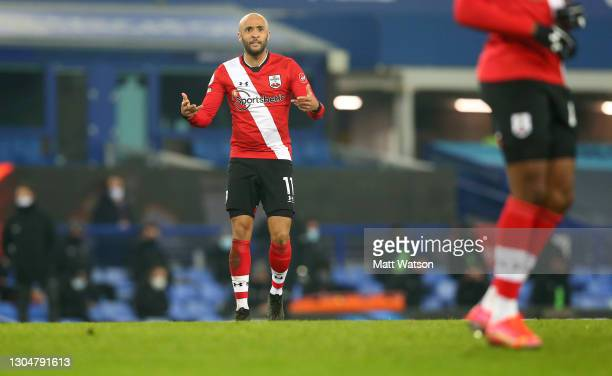 Nathan Redmond of Southampton reacts during the Premier League match between Everton and Southampton at Goodison Park on March 01, 2021 in Liverpool,...