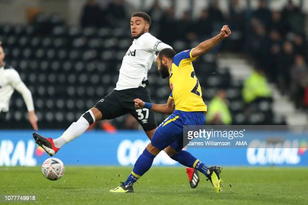 Nathan Redmond of Southampton scores a goal to make it 10 during the FA Cup Third Round match between Derby County and Southampton FC at Pride Park...
