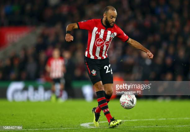 Nathan Redmond of Southampton scores his sides second goal during the FA Cup Third Round Replay match between Southampton FC and Derby County at St...