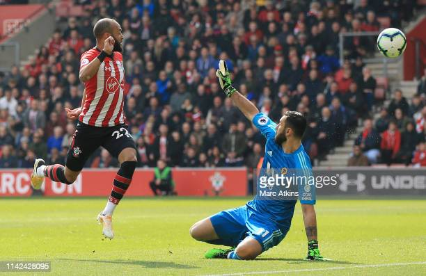 Nathan Redmond of Southampton scores his team's second goal past Rui Patricio of Wolverhampton Wanderers during the Premier League match between...