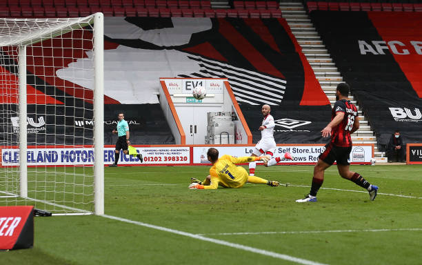 Nathan Redmond of Southampton scores his team's second goal to make it 2-0 during the Emirates FA Cup Quarter Final match between AFC Bournemouth and...