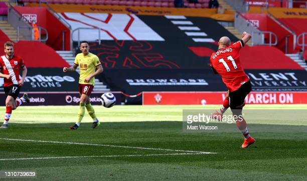 Nathan Redmond of Southampton scores to make it 3-2 during the Premier League match between Southampton and Burnley at St Mary's Stadium on April 04,...