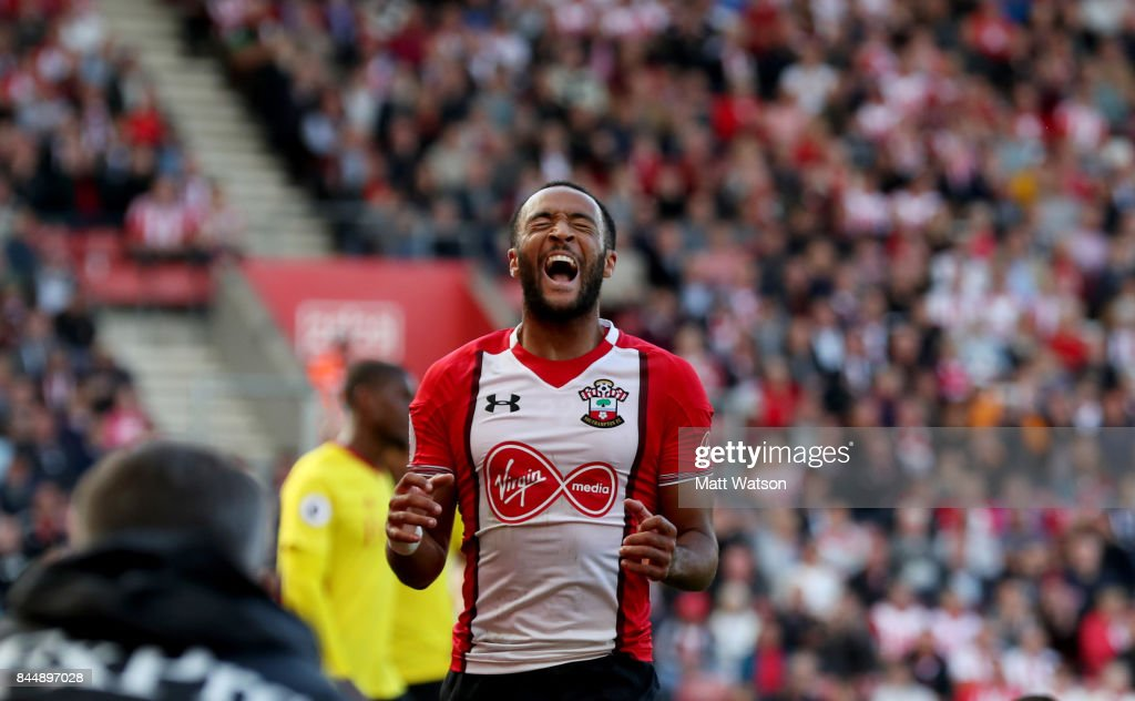Nathan Redmond of Southampton shows his frustration during the Premier League match between Southampton and Watford at St Mary's Stadium on September 9, 2017 in Southampton, England.