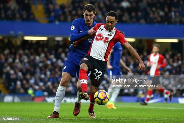 Nathan Redmond of Southampton takes Andreas Christensen of Chelsea during the Premier League match between Chelsea and Southampton FC at Stamford...