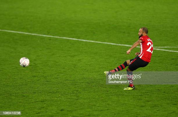 Nathan Redmond of Southampton takes the third penalty during the penalty shoot out and misses which lead to Southampton losing the FA Cup Third Round...