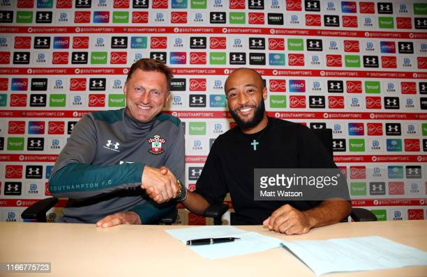 Nathan Redmond signs a new 4 year deal with Southampton FC, pictured with manager Ralph Hasenhuttl at the Staplewood Campus on August 07, 2019 in...