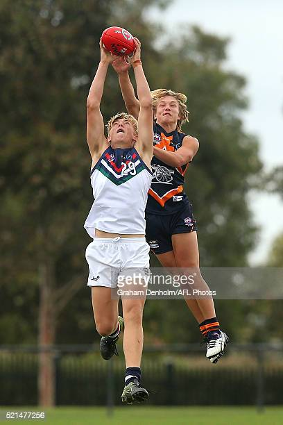 Nathan Richards of the NSW/ACT Rams contests the ball in the air during the round three TAC Cup match between Calder Cannons and NSW/ACT Rams at RAMS...