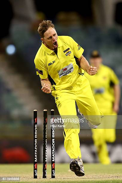 Nathan Rimmington of the Warriors celebrates after dismissing Jake Lehmann of the Redbacks during the Matador BBQs One Day Cup match between Western...