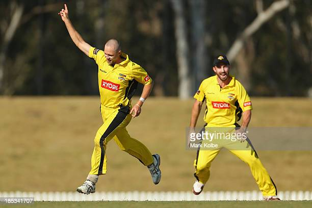 Nathan Rimmington of the Warriors celebrates running out Aiden Blizzard of the Tigers during the Ryobi Cup match between the Tasmania Tigers and the...