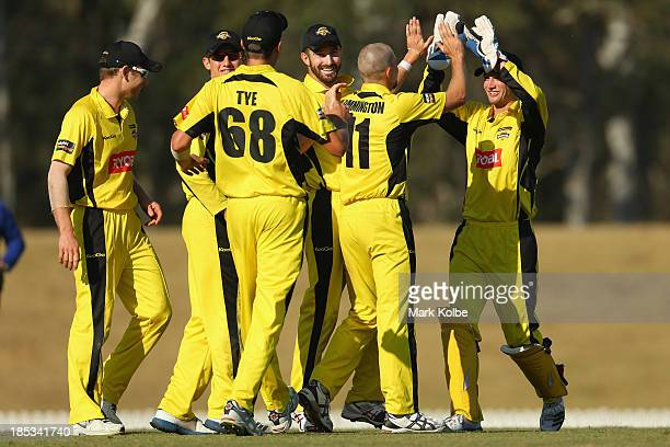 Nathan Rimmington of the Warriors celebrates with his team mates after running out Aiden Blizzard of the Tigers during the Ryobi Cup match between...
