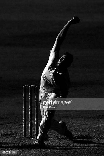 Nathan Rimmington of Western Australia bowls during day three of the Sheffield Shield match between Western Australia and Victoria at WACA on...