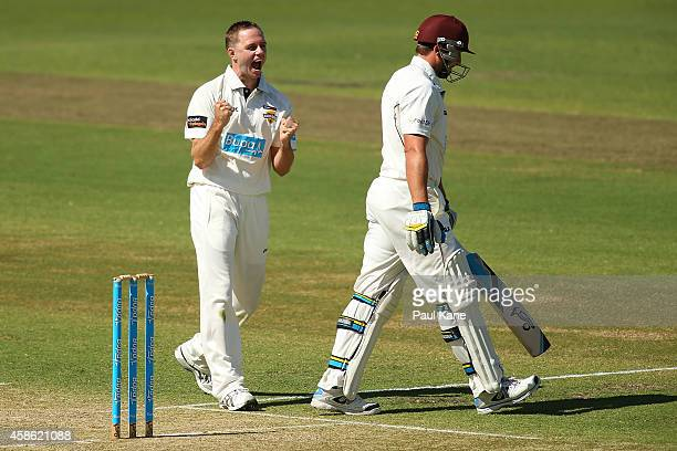 Nathan Rimmington of Western Australia celebrates dismissing Peter Forrest of Queensland during day one of the Sheffield Shield match between Western...