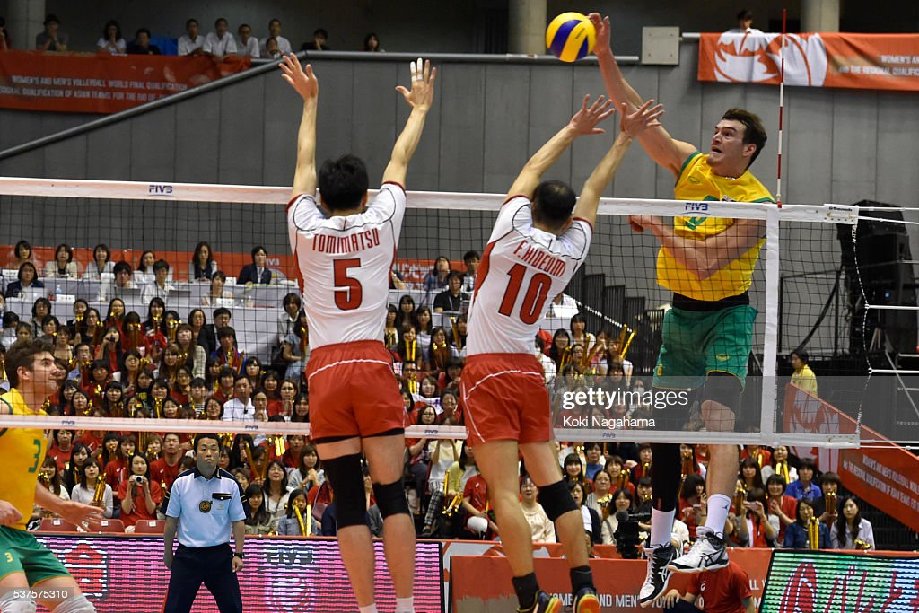 Nathan Roberts #3 of Australia spikes the ball during the Men's World Olympic Qualification game between Australia and Japan at Tokyo Metropolitan Gymnasium on June 2, 2016 in Tokyo, Japan.