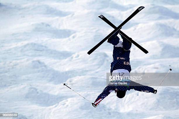 Nathan Roberts of United States flips on the qualification run during the Freestyle Skiing Men's Moguls on day 3 of the 2010 Winter Olympics at...