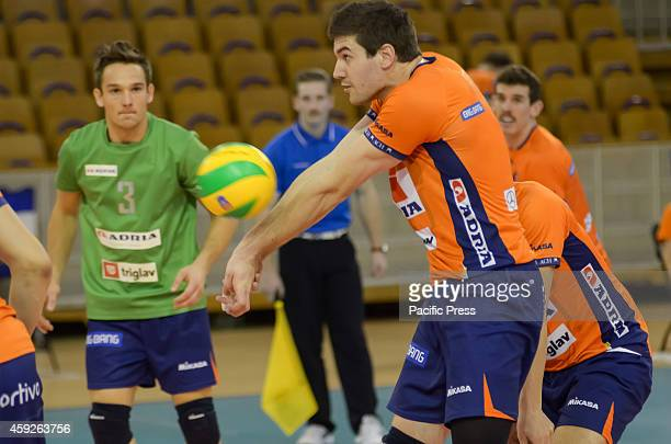 Nathan Roberts receiving for ACH Volley in match against Asseco Resovia