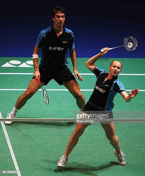 Nathan Robertson and Gail Emms of England in action in their semifinal game during the Yonex All England Open Badminton Championship at the NIA on...