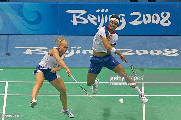 Nathan Robertson and Gail Emms of Great Britain in action against Hyojung Lee and Yongdae Lee of Korea in the Mixed Doubles Badminton QuarterFinal at...