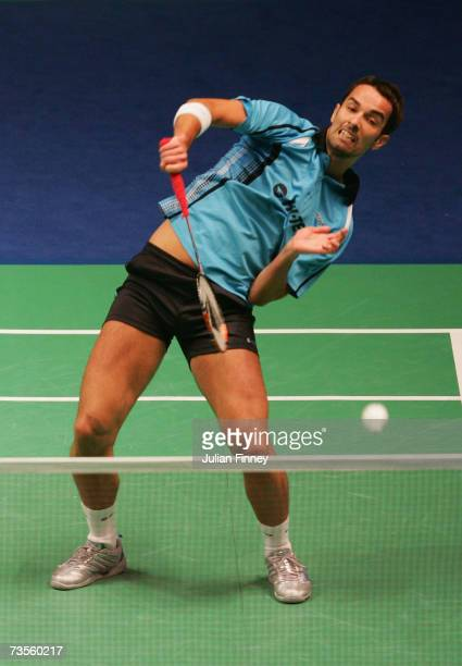 Nathan Robertson in action with partner Gail Emms of England against Zheng Bo and Gao Ling of China in the quarter finals during the Yonex All...