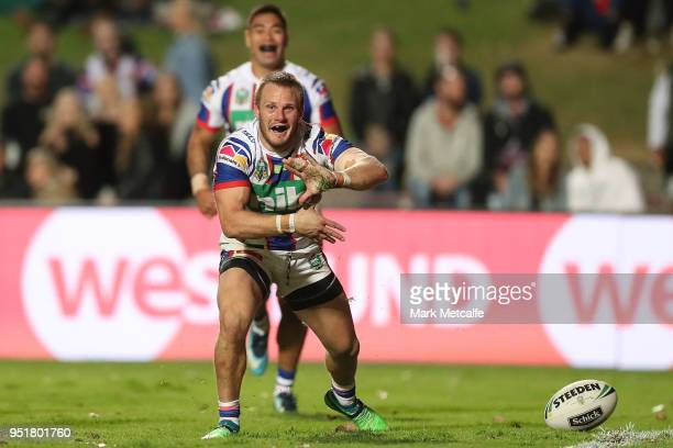 Nathan Ross of the Knights celebrates scoring a try during the Round eight NRL match between the Manly-Warringah Sea Eagles and the Newcastle Knights...