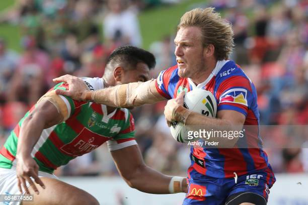 Nathan Ross of the Knights in action during the round three NRL match between the Newcastle Knights and the South Sydney Rabbitohs at McDonald Jones...