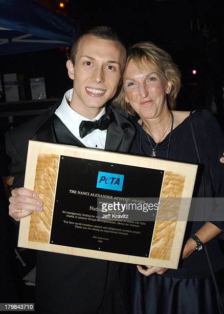 Nathan Runkle and Ingrid Newkirk during 25th Anniversary Gala for PETA and Humanitarian Awards Backstage and Audience at Paramount Studios in...