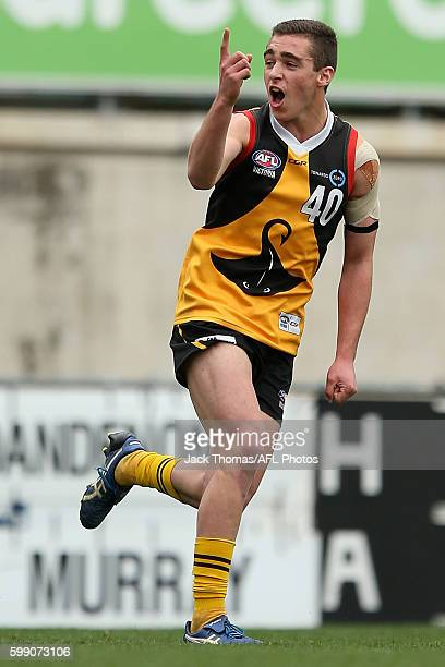 Nathan Scagliarini of the Dandenong Stingrays celebrates a goal during the TAC Cup Qualifying Final match between Dandenong and Murray at Ikon Park...