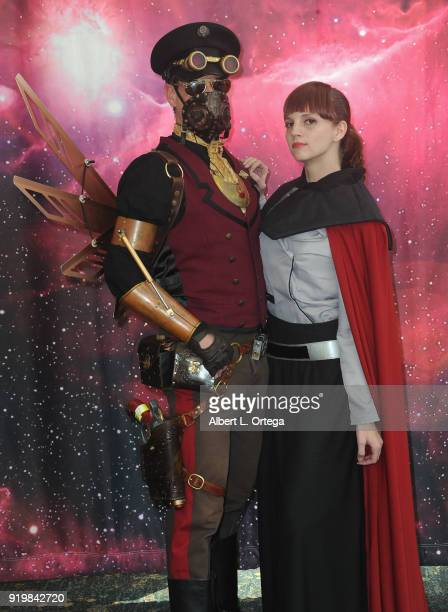 Nathan Seekerman and Kathryn Hayden attend day 1 of the 8th Annual Long Beach Comic Expo held at Long Beach Convention Center on February 17 2018 in...