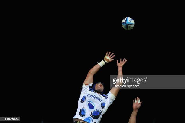 Nathan Sharpe of the Force jumps for a lineout ball during the round eight Super Rugby match between the Western Force and the Waratahs at NIB...