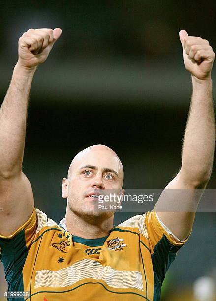 Nathan Sharpe of the Wallabies celebrates winning the 2008 Tri Nations series match between the Australian Wallabies and the South African...