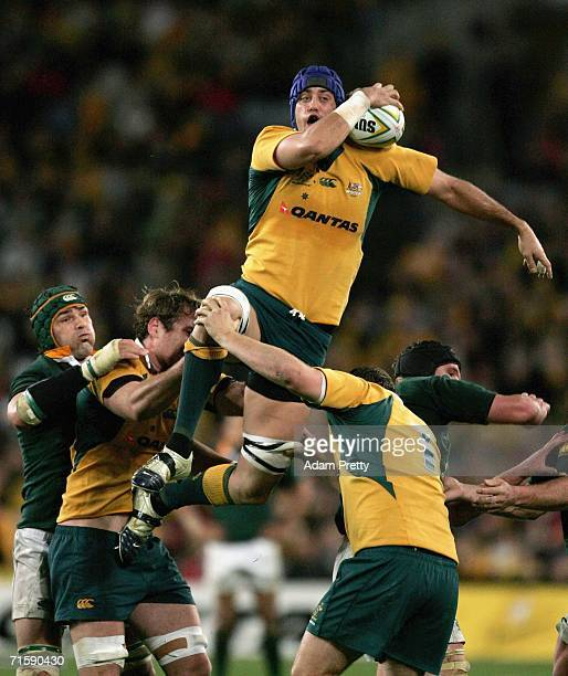 Nathan Sharpe of the Wallabies competes in the lineout during the Tri Nations series second Mandela plate match between Australia and South Africa at...