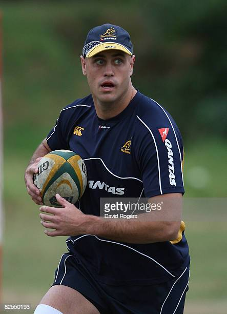 Nathan Sharpe pictured during the Australian Wallabies training session held at Crusaders on August 26 2008 in Durban South Africa
