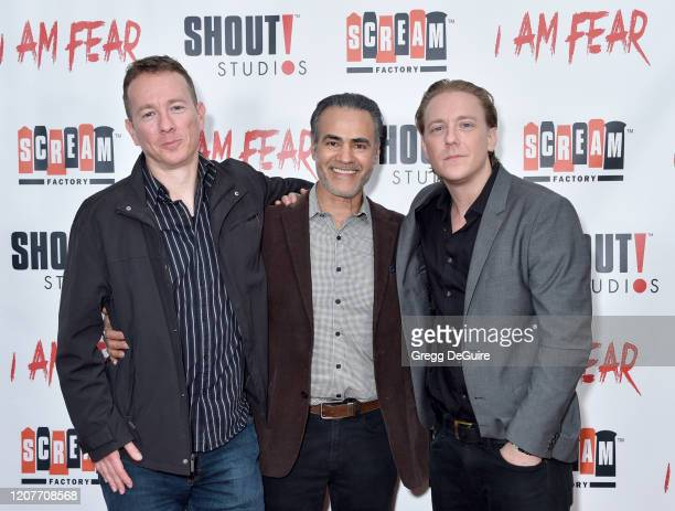 """Nathan Shulman Ali Saam and Kevin Shulman attend the Los Angeles Premiere of Roxwell Films """"I Am Fear"""" at Laemmle Monica Film Center on February 20..."""