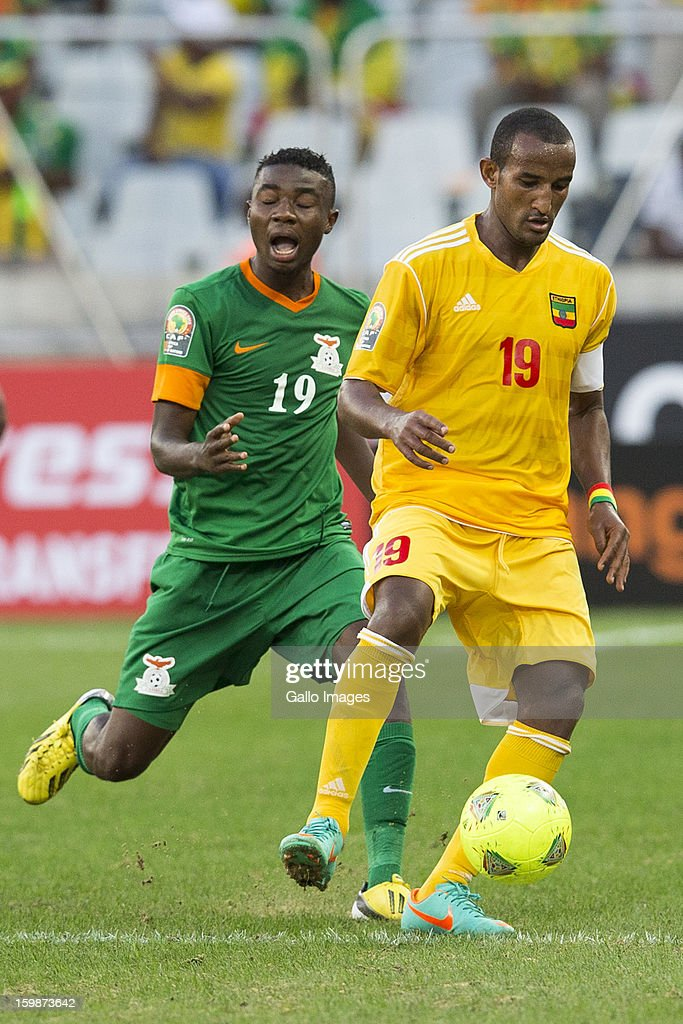 Nathan Sinkala and Gebreyes Adane Girma during the 2013 Orange African Cup of Nations match between Zambia and Ethiopia from Mbombela Stadium on January 21, 2012 in Nelspruit, South Africa