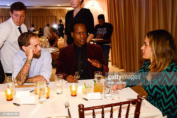 Nathan Slavik, Justin Hunte and Brianne Pins attend Maurice Hennessy's Private Tasting and Dinner at Sunset Tower on February 24, 2014 in West...