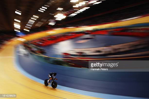 Nathan Smith of New Zealand competes in the Men's Individual Cycling C3 Pursuit qualification on day 2 of the London 2012 Paralympic Games at...
