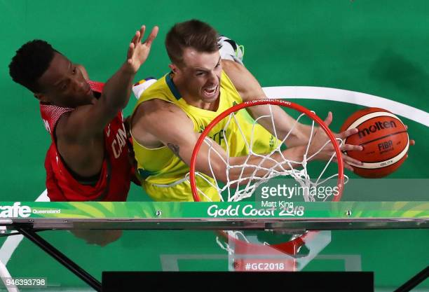 Nathan Sobey of Australia drives to the basket during the Men's Gold Medal Basketball Game between Australia and Canada on day 11 of the Gold Coast...