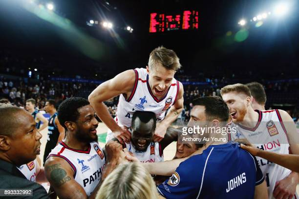 Nathan Sobey of the 36ers celebrates with the team after winning the round 10 NBL match between the New Zealand Breakers and the Adelaide 36ers at...