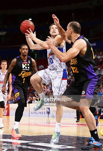 Nathan Sobey of the 36ers drives to the basket during the round eight NBL match between the Sydney Kings and the Adelaide 36ers at Qudos Bank Arena...